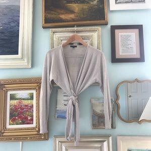 J.Crew gray linen-blend wrap top